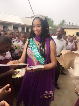 Face of Bella 2016,Queen Samuda Angel looks so vibrant in purple as she Visits School on her Charity Project.
