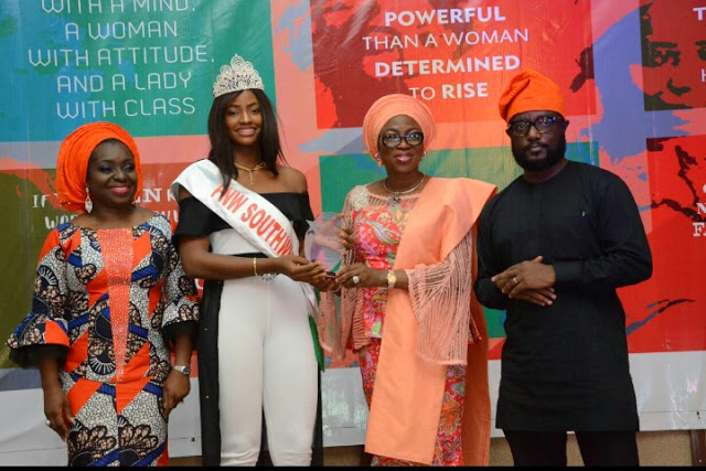 Beauty Queen, Yetunde Savage receives recognition award from Mrs Ambode, Sen. Jimi Benson