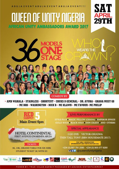 36 models,1 big stage:Queen of Unity Nig world Set to hold grand finale in Abuja.
