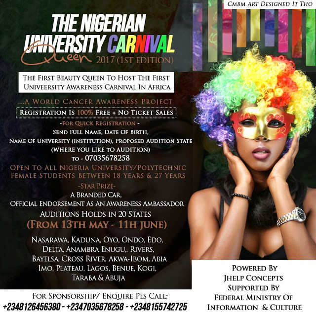 Who Becomes the first ever Nigerian University Carnival Queen 2017,Registration is on now.