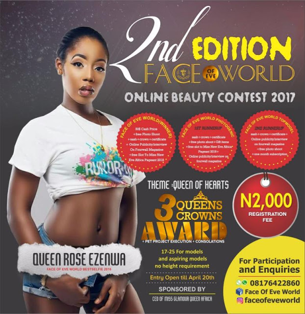 You can't miss this, registration is on now for Face Of Eve World 2017,Queen of Hearts Edition.