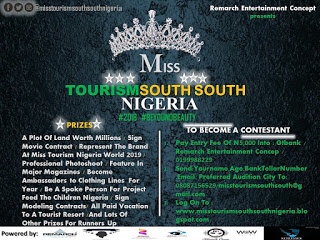 Free Form to Contest for Miss Tourism South South Nigeria Beauty pageant 2018,Grab this opportunity now!!!!