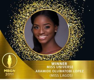 1st runner up Mbgn 2018 ,Nigerian representative at Universe 2018