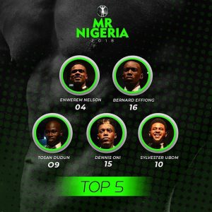 Top 5 contestants at Mr Nigeria 2018