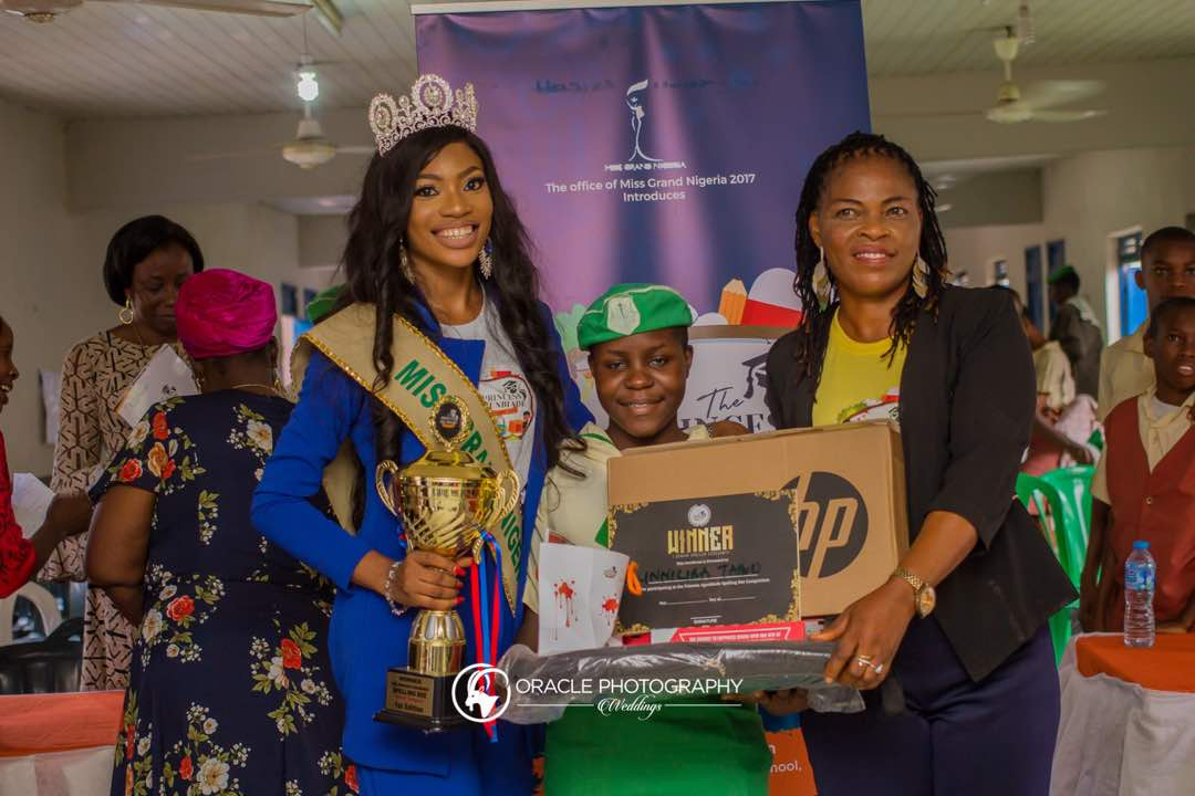 Miss Grand Nigeria,Princess Agunbiade gives out laptop,cash voucher to best students in Spelling Bee