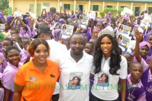 Empress njamah and queen of aso winner Kome igbho at the medical outreach in Jabbi Abuja