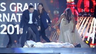 Reaction as Miss Paraguay Faints On Stage After She Was Announced As Winner Of Miss Grand International