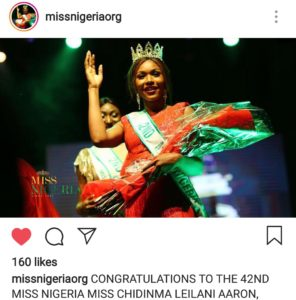 Winner miss Nigeria Chidinma Leilani Aaron biography