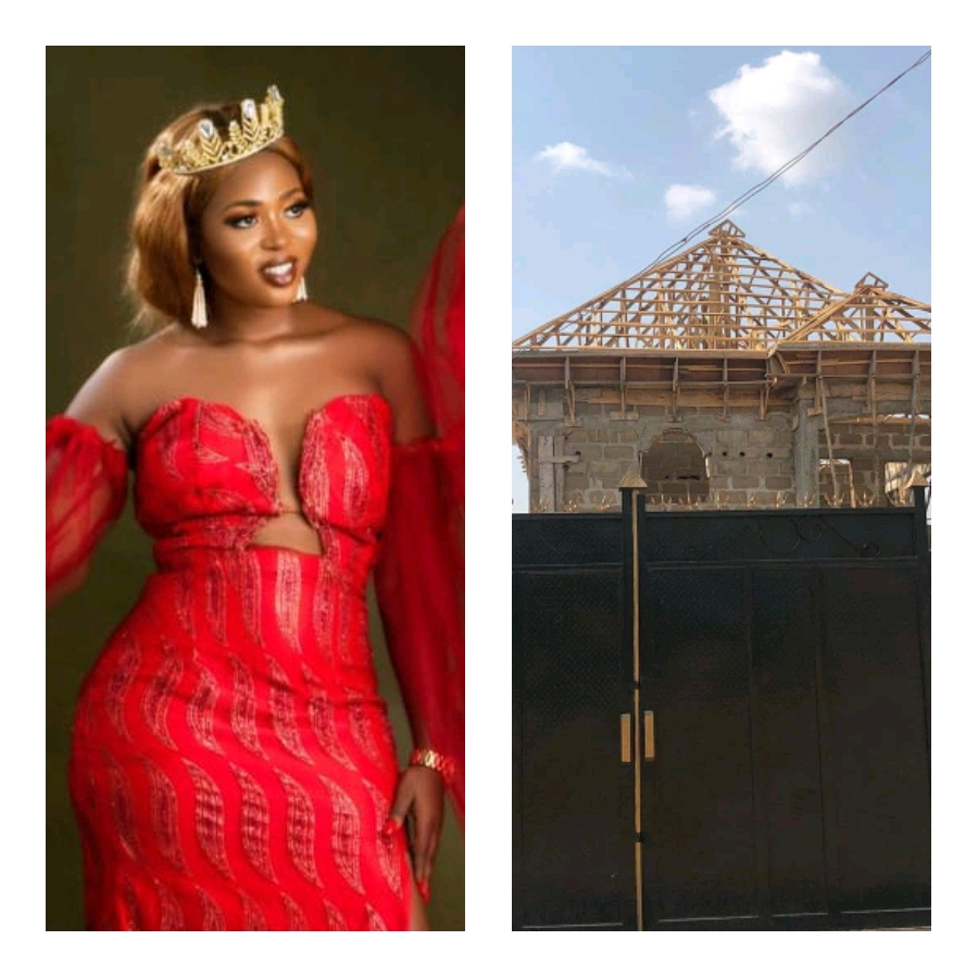 Curvy Nigerian beauty queen Joy Nguma shows off her near completed mansion