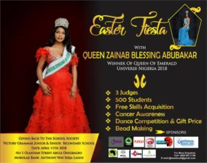Beauty queen Zainab Blessing Abubakar set to empower secondary school pupil in Lagos