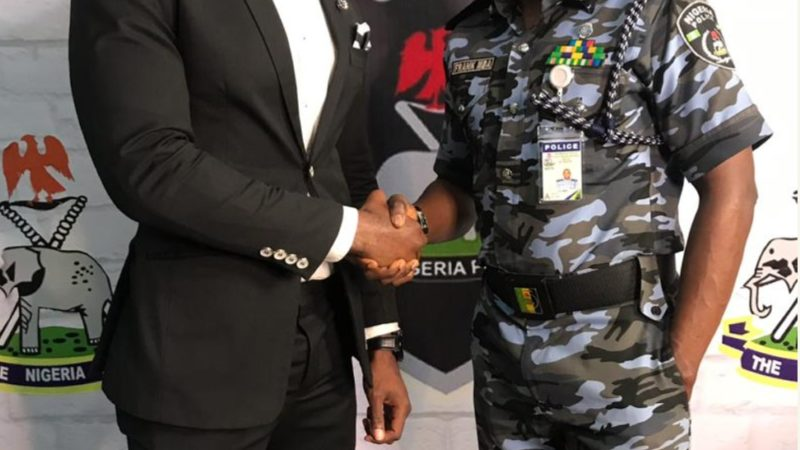 Mr Nigeria Nelson Enwerem Shares photo with Nigerian Police Force Pro, Mr Frank Mba.