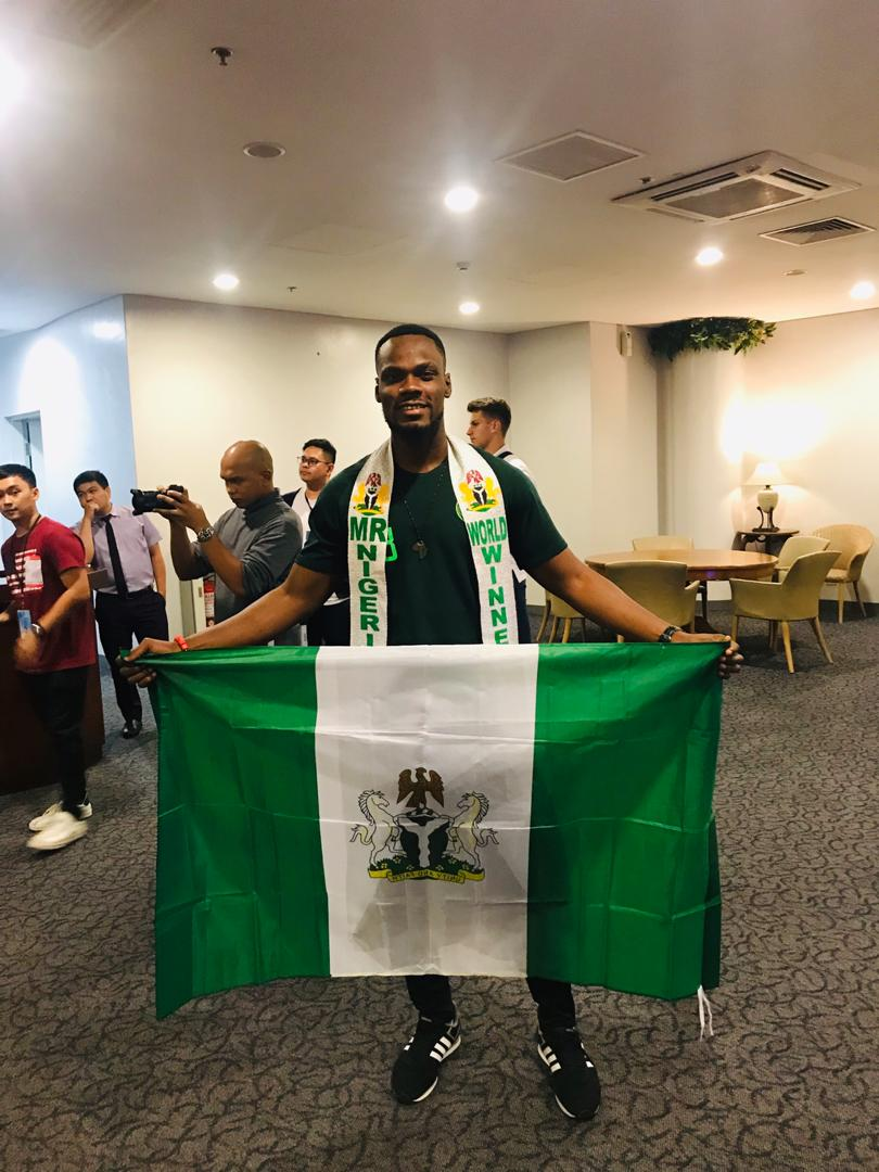 Mr Nigeria Nelson Enwerem arrives in Philippine ahead of Mr World Competition.