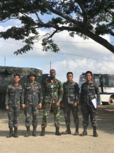 Mr Nigeria Nelson Enwerem rocks military uniform, poses with Philippine Armies