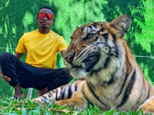 Nigerian model Emmanuel somto conquers his fears as he poses and chat with a tiger