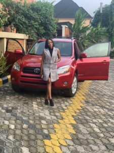 Ex Beauty Queen Courage Ugboaja Gifts Herself a Car-gift on her birthday